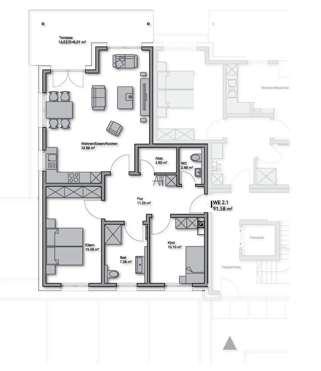 ETW-Nr. 2.1 - EG links - 91,58 m²
