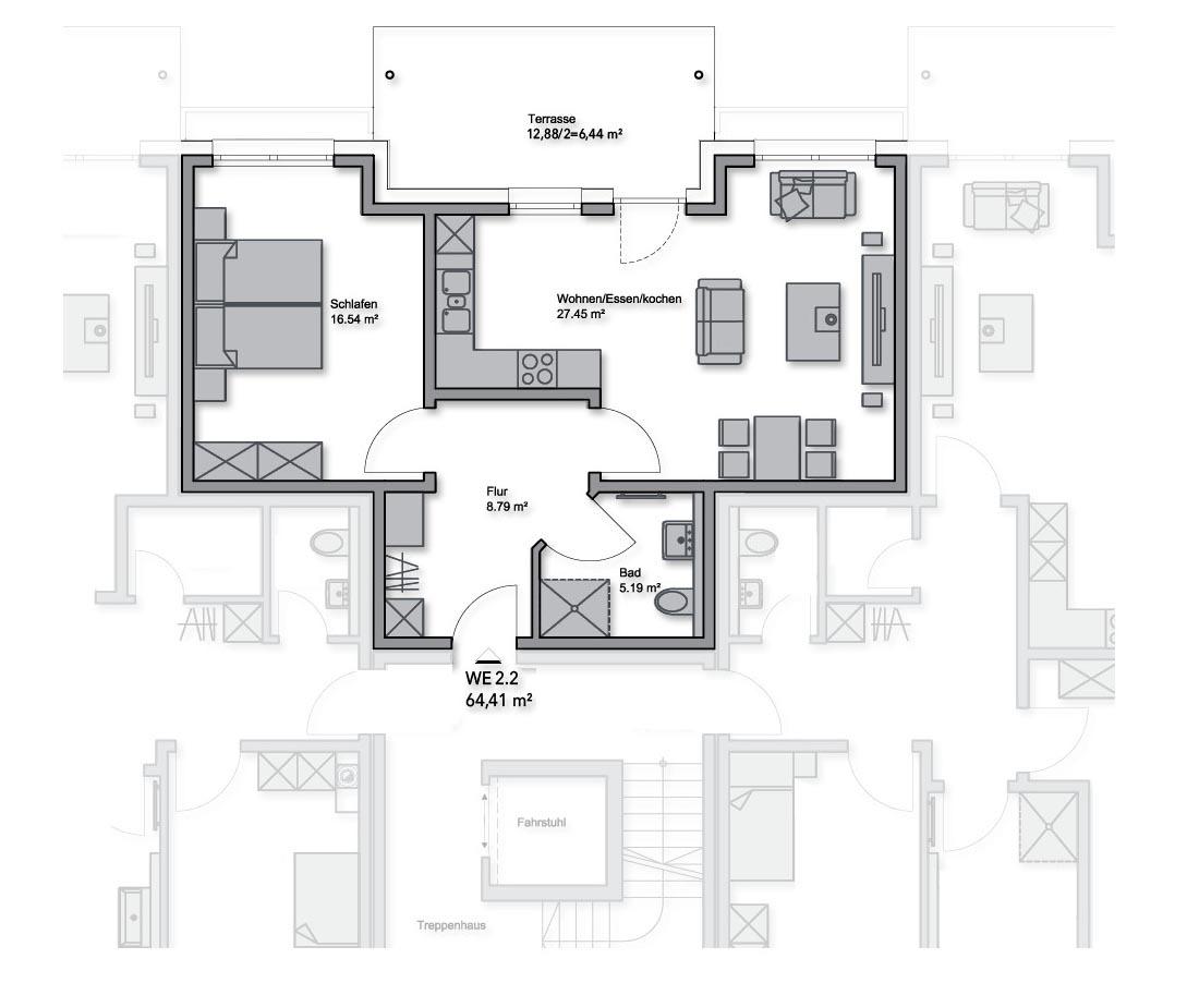 ETW-Nr. 2.2 - EG Mitte - 64,41 m²
