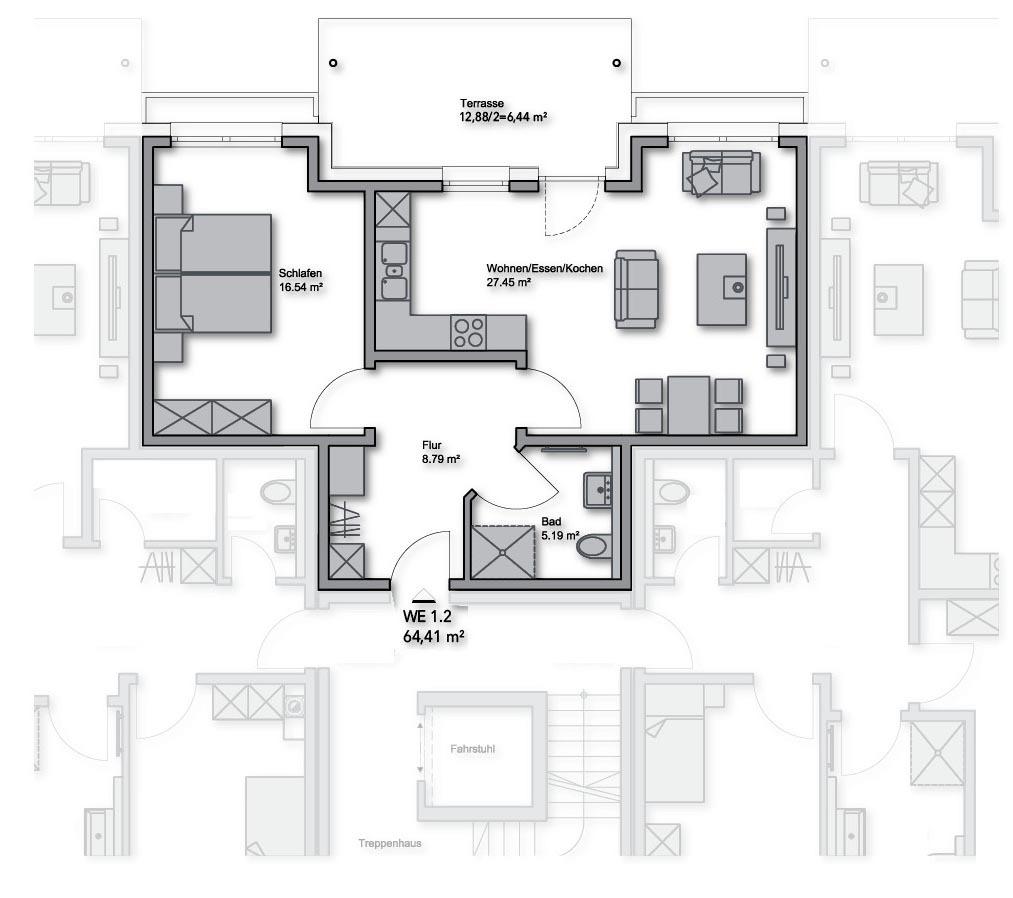 Erdgeschoss-WE-Nr.: 1.2 - 64,41 m²