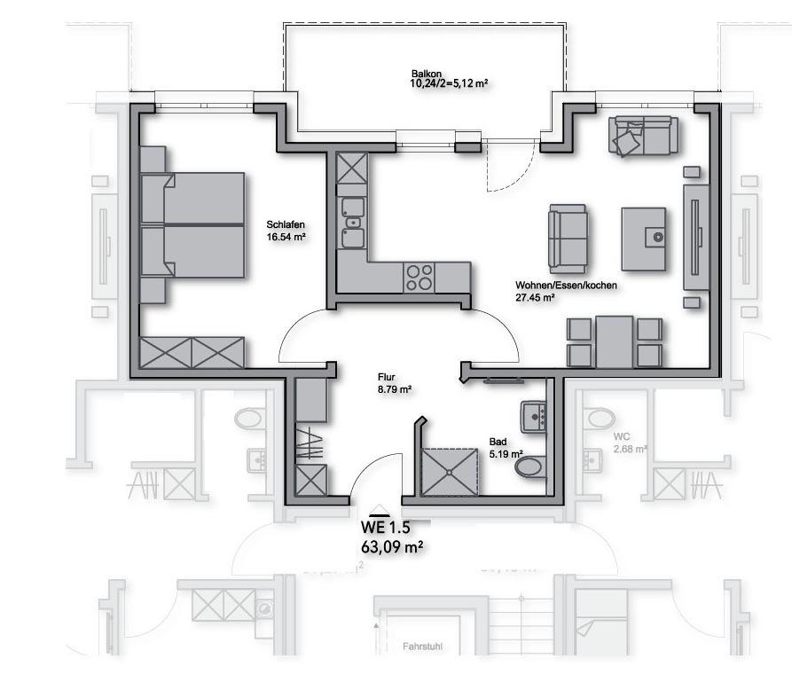 Obergeschoss-WE-Nr.: 1.5 - 63,09 m²