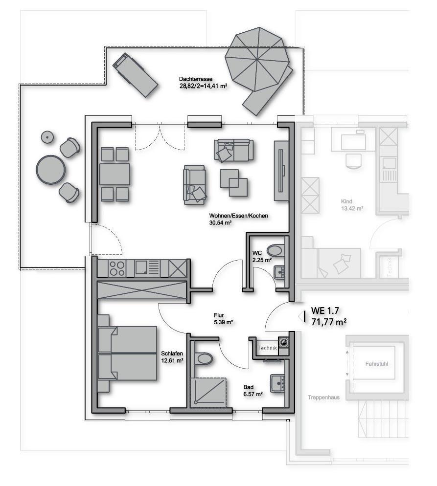 Penthouse-Nr.: 1.7 - 71,77 m²