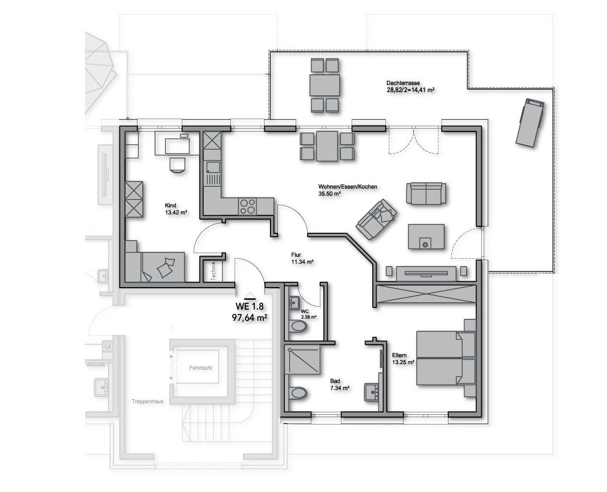 Penthouse-Nr.: 1.8 - 97,64 m²